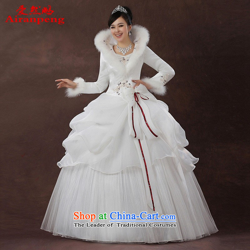 2014 new bride wedding dresses Korean version of winter clothing winter wedding long-sleeved sweet plus cotton?XL package returning
