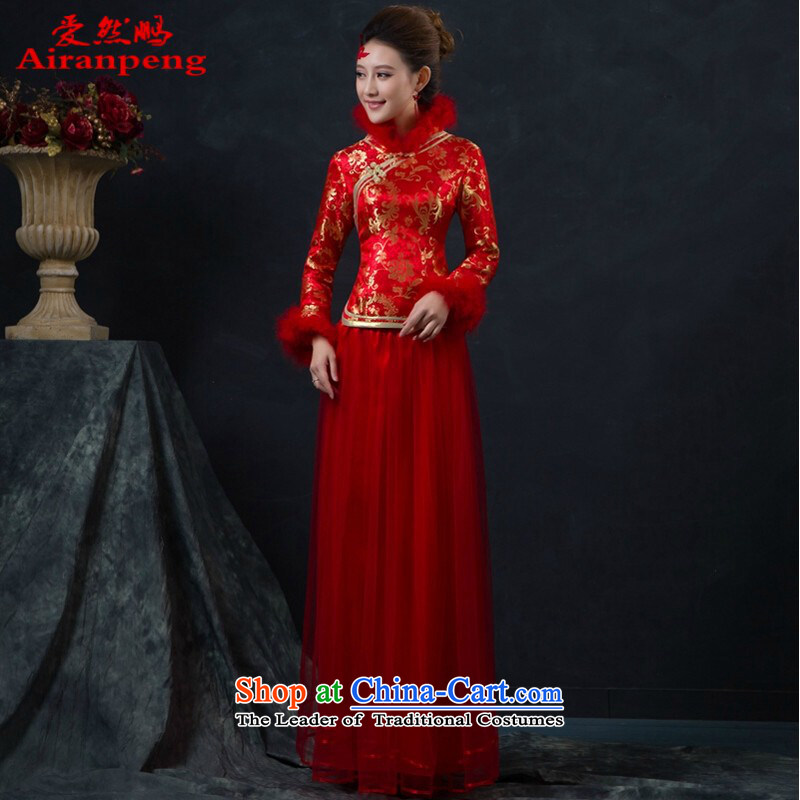 Married women cheongsam dress new stylish cheongsam dress winter long red thick cotton bows service�M folder package returning