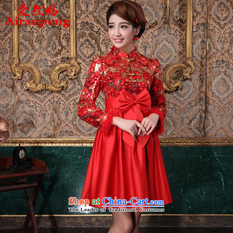 The new 2014 improved Stylish retro short of marriages clip cotton qipao bows to Top Loin of Korean?XL package returning