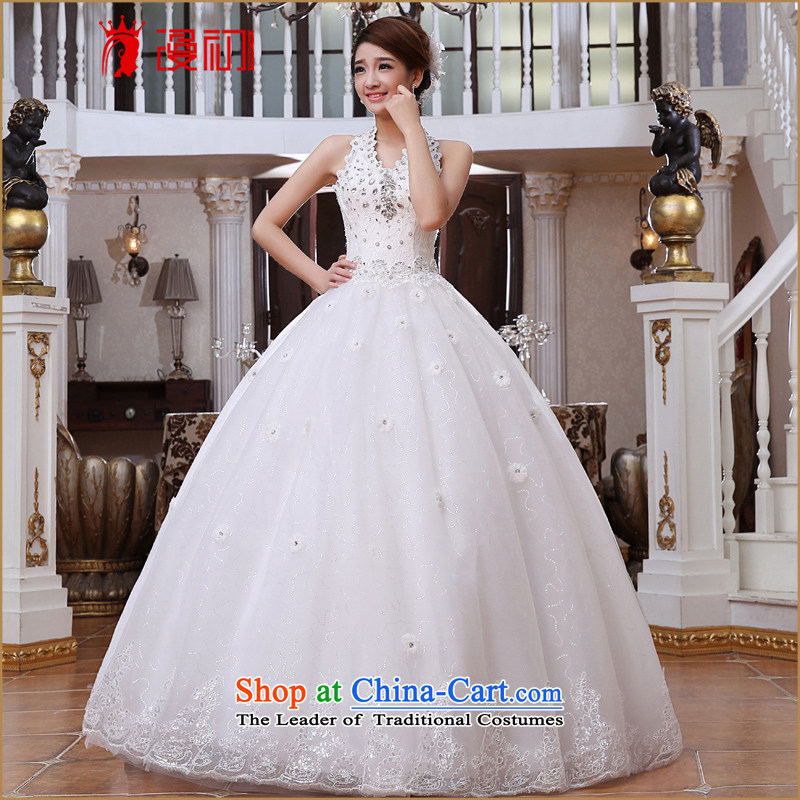 The beginning of the flood-history wedding dresses new 2015 diamond jewelry flowers to align the strap wedding?v-neck bride replacing wedding white?L