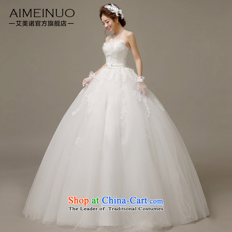 Wedding dress 2015 Spring/Summer Korean brides wedding lace spend grasp the folds and chest straps to align yarn?H-56 Sau San?white?S