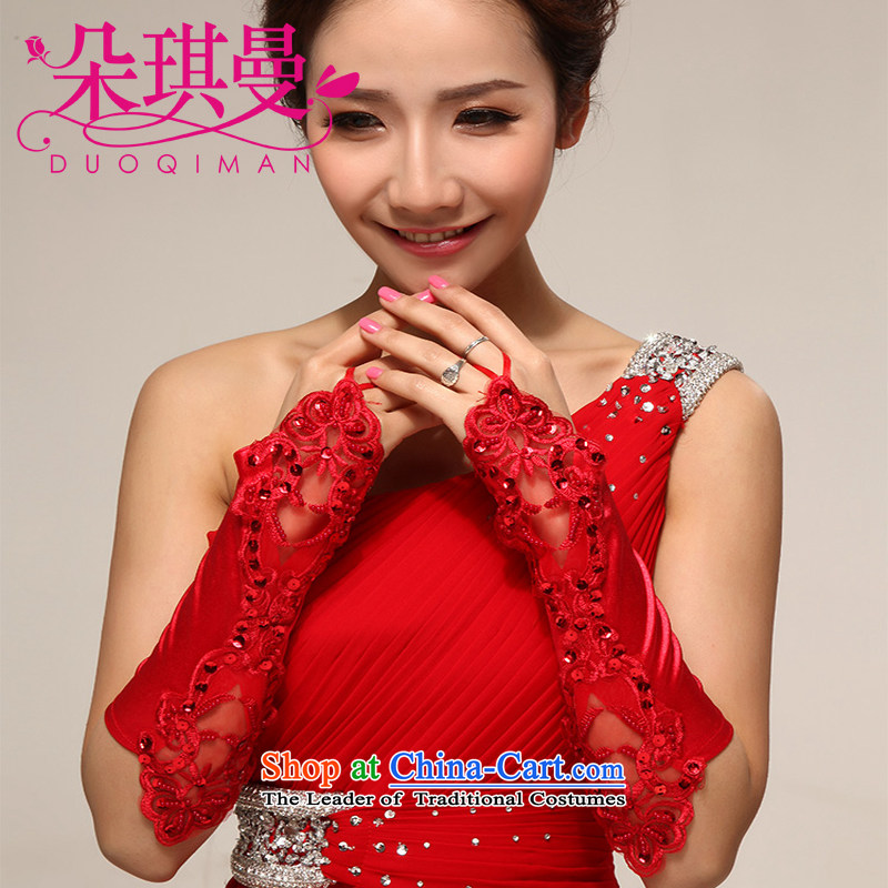The latte macchiato Qi Cayman wedding gloves female terrace refer to long, lace new bride gloves terrace refers to wedding gloves wholesale red