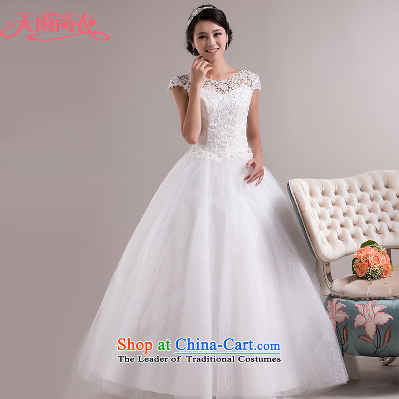 Rain-sang yi wedding dresses 2015 New White gauze Korean word shoulder sweet princess lace straps_ to align HS851 tailored White