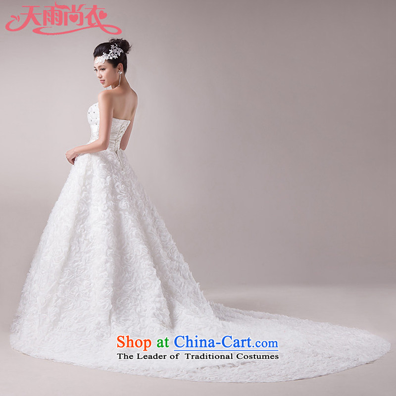 Rain is Korean sweet princess yi 2015 new marriage wedding wiping the chest and bride long tail HS855 tailored White