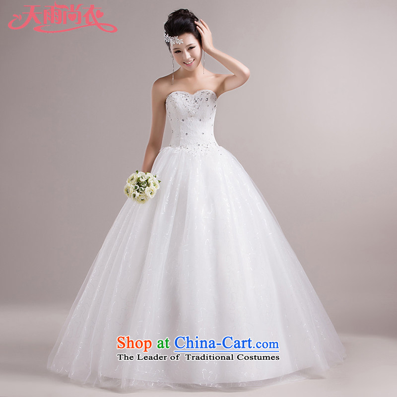 Rain-sang yi wedding dresses 2015 new Korean Princess Mary Magdalene chest with white strap bon bon skirt White gauze HS858 white Suzhou shipment tailored