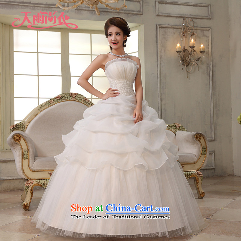 Rain-sang yi bride wedding dress wedding minimalist temperament wedding Princess Mary Magdalene Chest straps, white wedding HS843 to align the white Suzhou shipment tailored