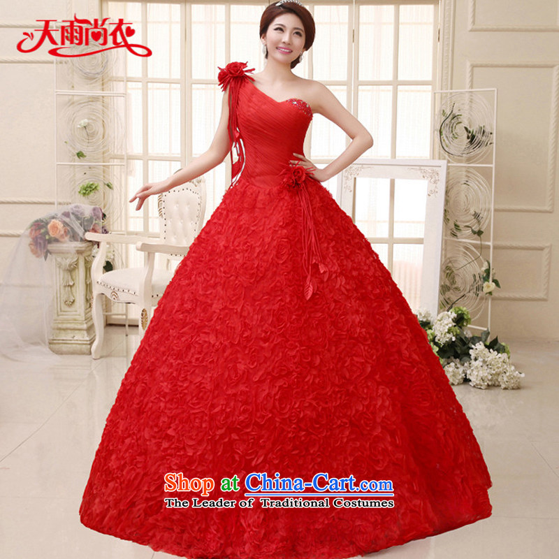 Rain Coat bridal dresses yet 2015 new shoulder princess marriage bon bon White gauze to align the large wedding HS915 tailored red