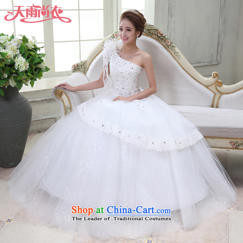 Rain-sang yi bride Wedding 2015 new marriage yarn Korean brides shoulder straps princess flowers water drilling to align HS928 lace white tailored, rain-sang Yi shopping on the Internet has been pressed.