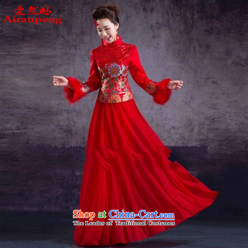 The cheongsam dress red long fall thick cotton plus warm, joyous red qipao bride services?need to be followed to do not XXXL Return