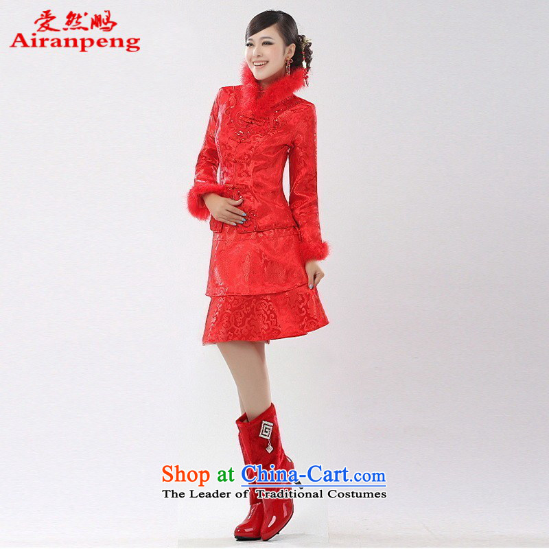 Autumn and Winter, bridal short of cotton qipao two sets of winter, Wedding Dress bows service pack?does not call for tailor-made XXXL returning