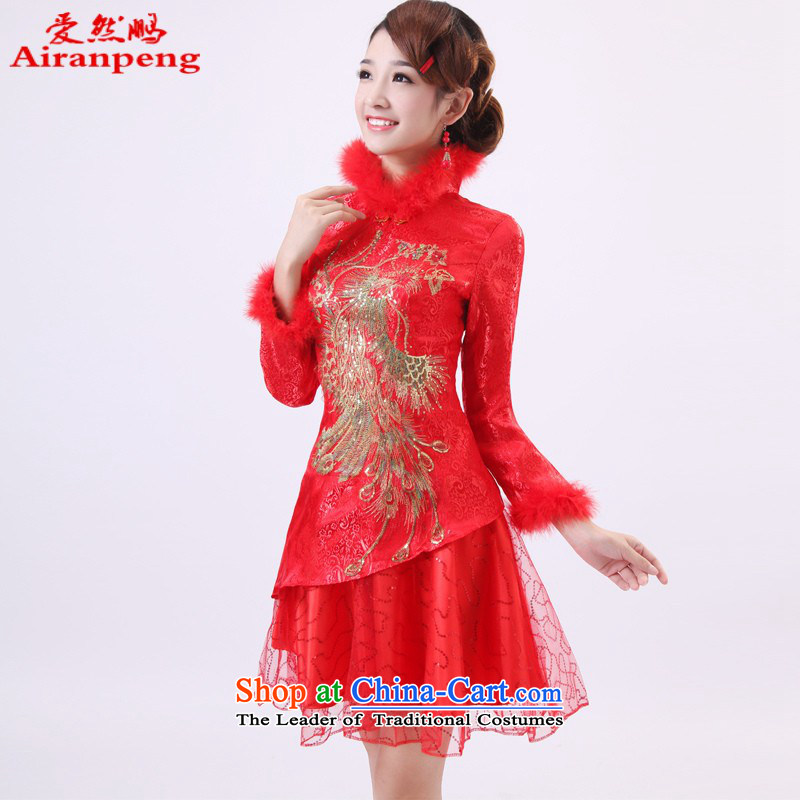 Qipao Winter 2014 new long-sleeved bridal dresses marriage autumn and winter, short of qipao red cotton XXXL services need to be followed by a non-refundable