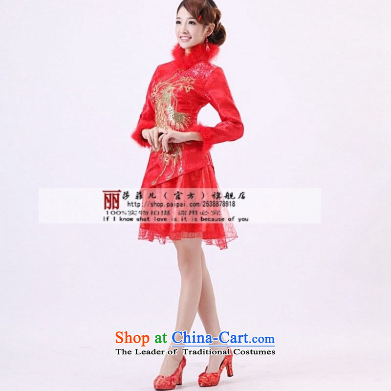 Qipao Winter 2014 new long-sleeved bridal dresses marriage autumn and winter, short of qipao red cotton XXXL services need to be followed by a non-returnable, love so Peng (AIRANPENG) , , , shopping on the Internet