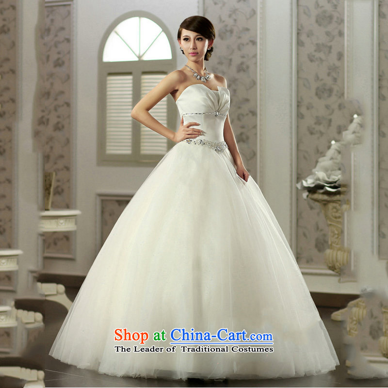 Optimize Hong-wiping the chest princess skirt water Drill Simple Princess wedding satin bon bon skirt video thin bride wedding JS8121 m White L