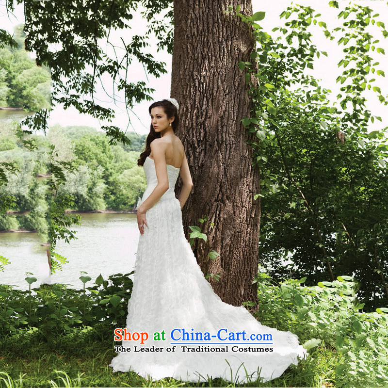 Optimize video sexy anointed chest Foutune of Deluxe Big trailing white wedding Korean parquet wedding dresses JS8123 Pearl White?S