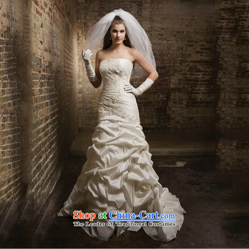 Optimize video new wedding dresses white breast tissue small trailing wedding sexy anointed chest wedding JS8125 m White?L