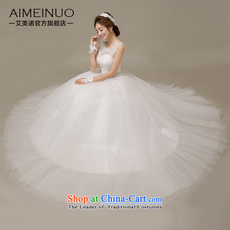 Wedding dress 2015 Spring/Summer Tulle lace shoulders a field with Korean shoulder chest straps to align the Sau San?H-57?White?M yarn