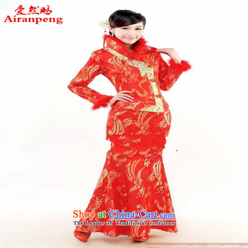Elegant and stylish bridal dresses skirt bride red cotton winter clothing improved qipao bows?XL package returning