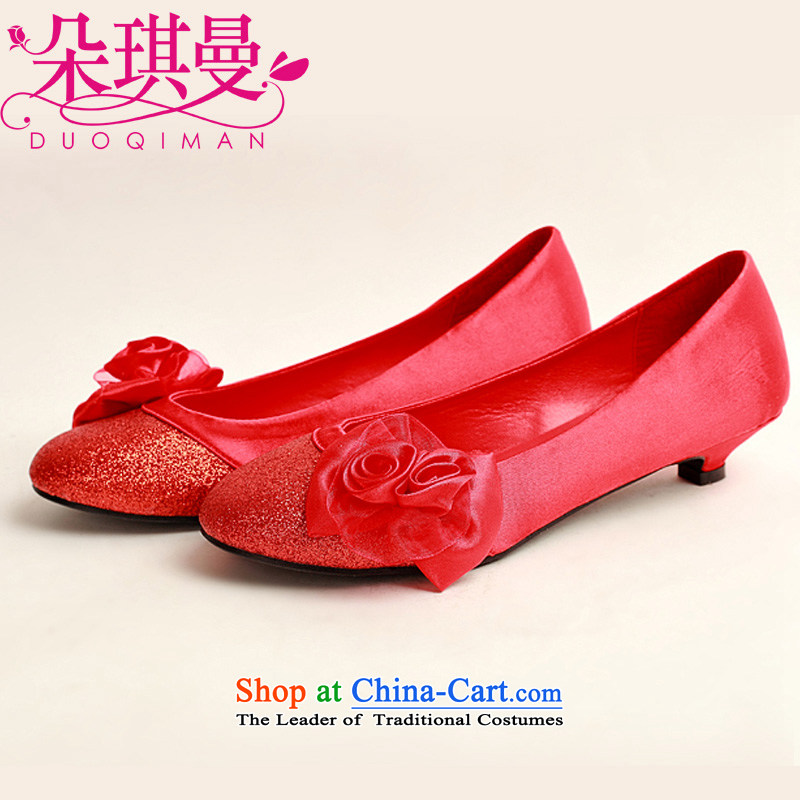 The Korean version of the flower Angel Román marriage shoes Red flat bottom shoe marriage shoes wedding marriage shoes heel shoe qipao shoes low larger single shoes pregnant women 37