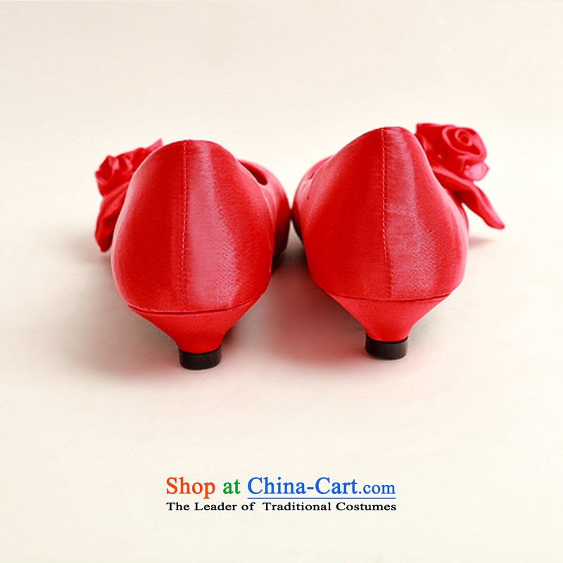 The Korean version of the flower Angel Román marriage shoes Red flat bottom shoe marriage shoes wedding marriage shoes heel shoe qipao shoes low larger single shoe 37, a pregnant woman (DUOQIMAN QI) , , , shopping on the Internet