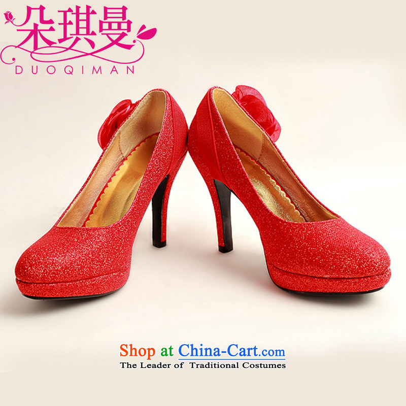 The Korean version of the flower Angel Rom谩n high-heel shoes large red golden marriage code marriage shoes bride shoes 2014 womens single shoe Red聽35