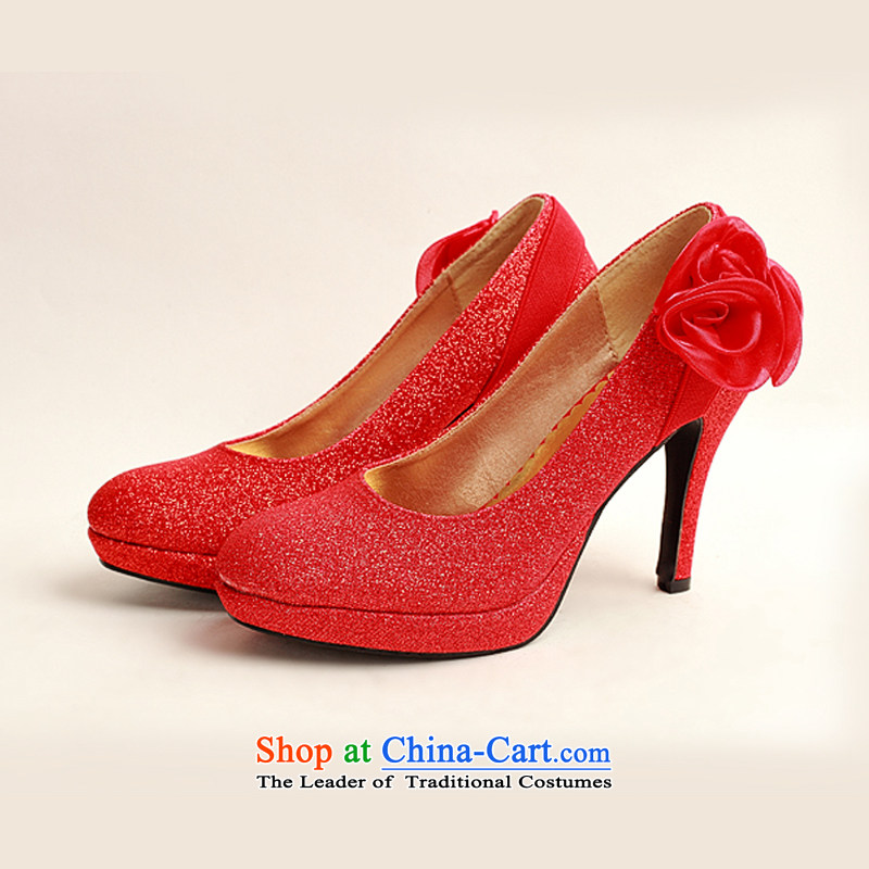 The Korean version of the flower Angel Román high-heel shoes large red golden marriage code marriage shoes bride shoes 2014 womens single shoe red flower-ki (35) has been pressed DUOQIMAN shopping on the Internet