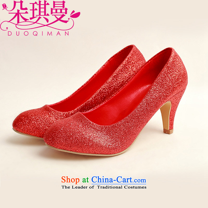 The latte macchiato qi marriage shoes wedding dress shoes shoes bride shoes marriage the the high-heel shoes banquet shoes red shoes stage performances shoes 35