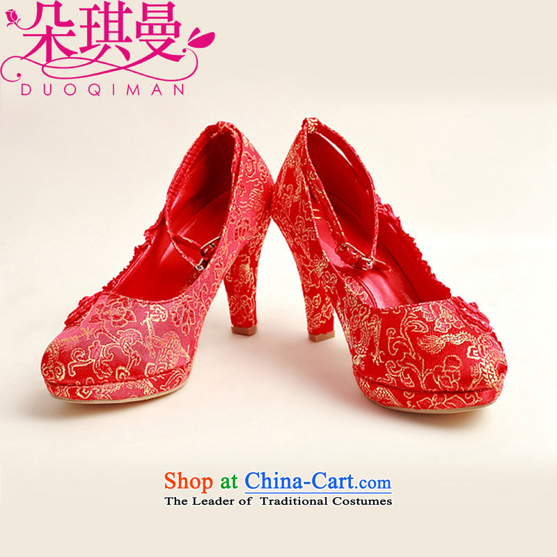 Flower Angel Cayman 2014 new pattern of marriage shoes wedding shoes bride marriage with rough shoes banquet shoes and a pair of red high-female single shoe 37