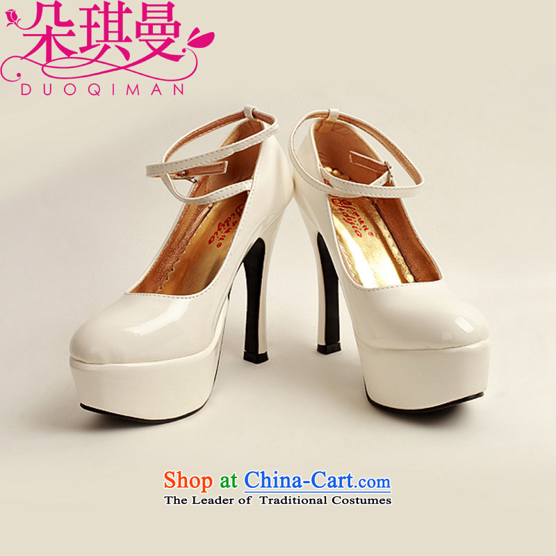 Flower angel girl single shoes Cayman 2014 new varnished leather, smooth sparkling, luxury waterproof shoes marriage bride desktop white shoes, round head high heels�36