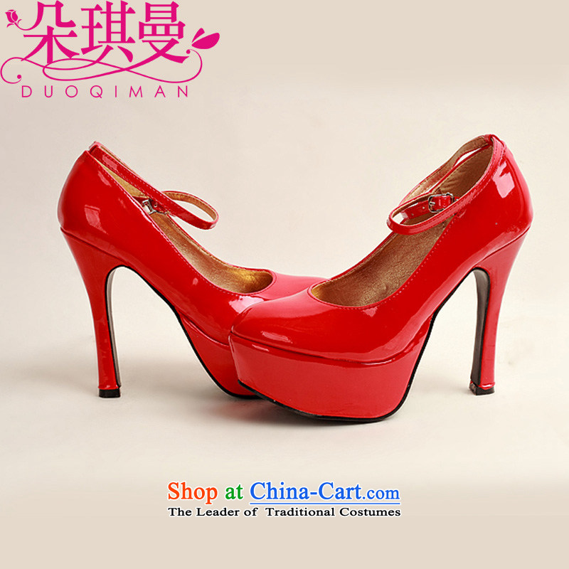 Flower angel girl single shoes Cayman 2014 new varnished leather, smooth sparkling, luxury waterproof shoes marriage bride desktop red shoes, round head high heels?36