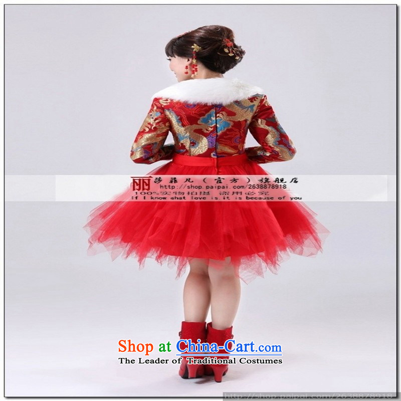 2014 new marriages qipao bows services robes of the dragon, red short stylish Chinese antique dresses improved red?XL package returning