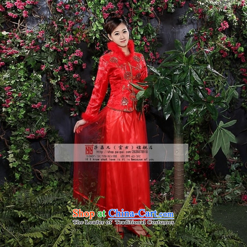 2014 new bride wedding dresses qipao Chinese qipao marriage kit for winter wedding dresses - 28 July 1995 6335 customer to sepia size is not returning to love, so Peng (AIRANPENG) , , , shopping on the Internet