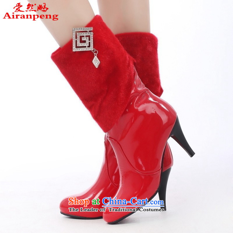 The new bride high 2014 and boots the the high-heel shoes red girl boots marriages cotton shoes winter of marriage wears?39