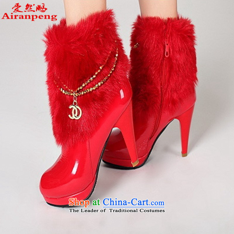 The bride red marriages high-heel shoes of autumn and winter bride wedding dress boots marriage shoes?38