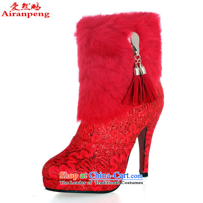 The bride warm winter boots wedding dresses qipao dedicated boots ultra warm red winter) of Korean football boot Red�35