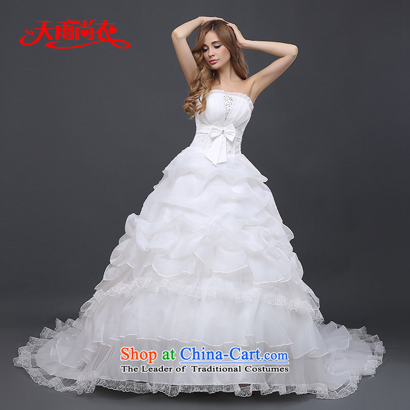 Rain-sang Yi marriages 2015 new larger princess large tail straps wedding HS828 tailored White