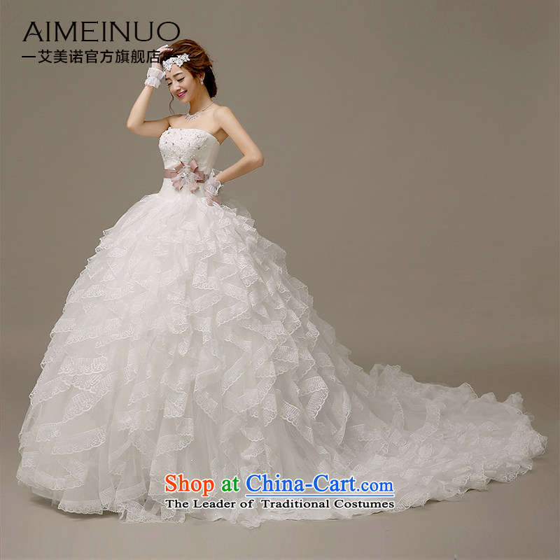 Hiv Miele wedding dresses 2015 new Korean Silk flower buds anointed chest ribbon Diamond Flower marriages with small Sau San�H-59 trailing�white�L