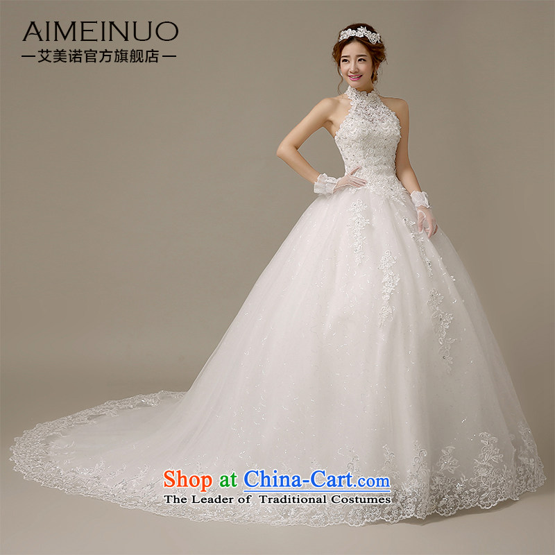 Hiv Miele wedding dresses 2015 new stylish Korean History Hang Lace Embroidery marriages with small Sau San�H-61 trailing�white�L
