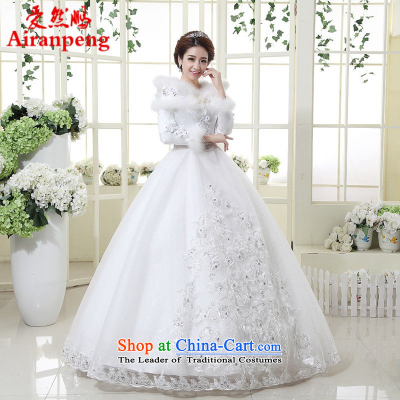 2014 new wedding dress winter marriage for long-sleeved wedding hair stylish Korean package shoulder graphics thin pregnant woman can pass through?L package returning