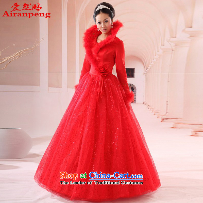 Red Winter wedding dresses new bride 2014 long evening dresses bows services to the size to 405 customers do not return