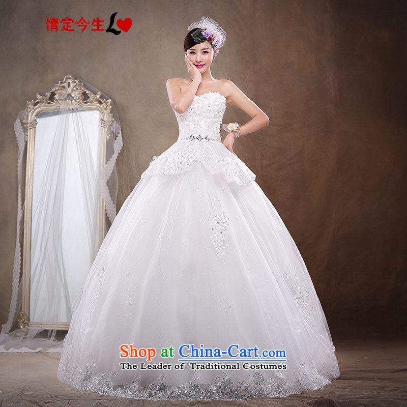 Love of the overcharged for larger wiping the chest wedding dresses video thin flowers diamond wedding align bride pregnant women to tie, White XXL