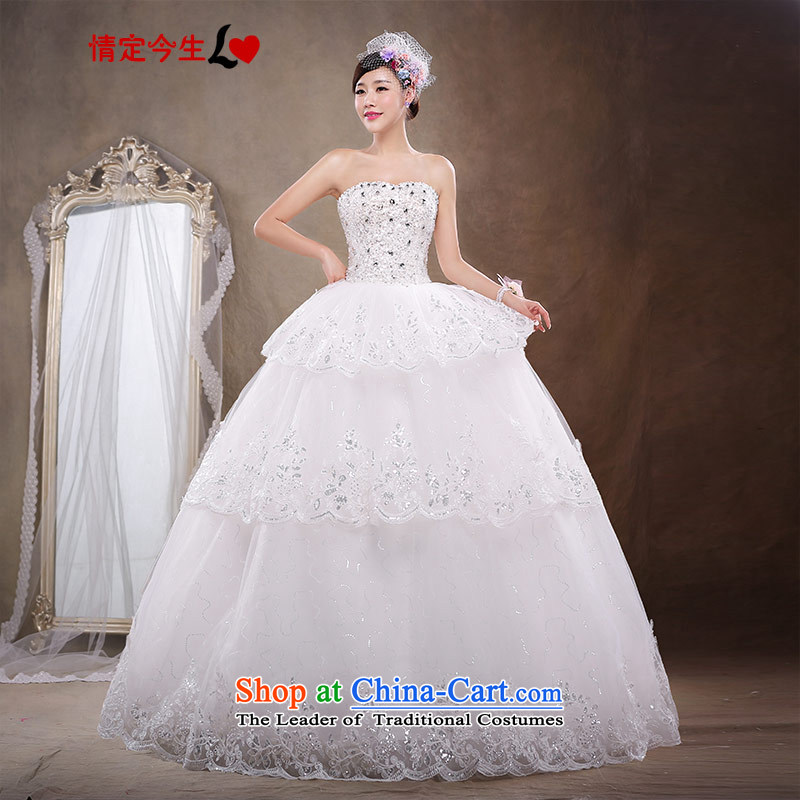 Love of the life of the new Korean 2015 strap alignment with chest lace wedding dresses larger wedding dress female white?M