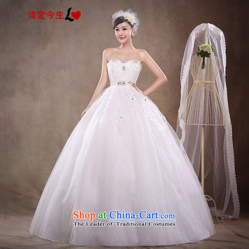 Love of the overcharged by 2015 new large pregnant women Korean-wiping the chest princess straps wedding dresses Top Loin of stylish bride to align the Korean white S