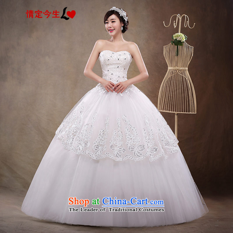 2015 new anointed chest to align the white wedding bridal lace upscale Korean Princess Couture fashion dress wedding dress female white?S