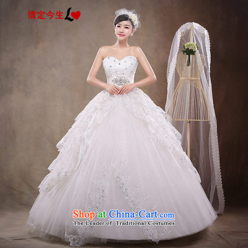 Love of the overcharged by 2015 the new Korean Won version with Hamor bride chest lace wedding dresses to align retro wedding dress female white XS