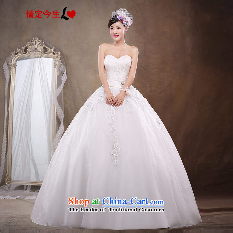 Love of the life of the new Korean 2015 pregnant women wedding brides of autumn and winter wiping the chest to align the diamond wedding dress female white M