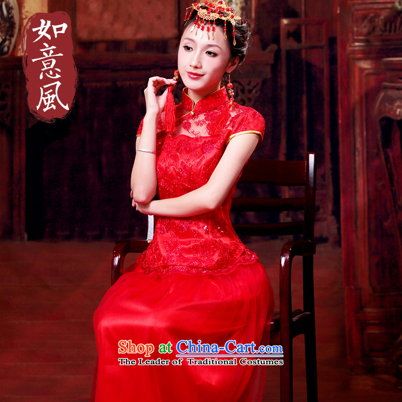 After a new dress bride wind genuine short-sleeved to long skirt cheongsam dress red bows services received by Transport received by Transport small dress?XXL