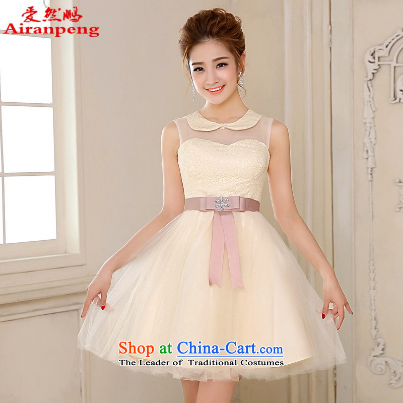 2014 new bridesmaid Dress Short of small champagne color version of the Korean ballet silkscreen wedding dresses skirt?XL package returning