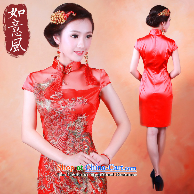 After the elections as soon as possible new wind 2014 stylish large lace Phoenix light film festival bridal dresses cheongsam dress?2,089 2,089 red?XL