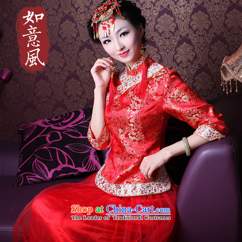 The new 2014 Fall_Winter Collections wedding dress in traditional red sleeved married women serving?2,146 2,146 qipao bows 7 Cuff?L