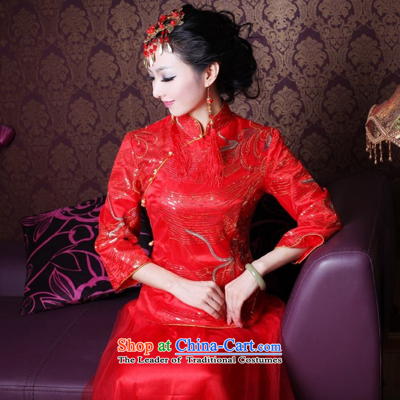 After a?new 2015 Wind Shiny cards brides embroidery cheongsam dress kit improved happy wedding dresses 2145 2145 Maximum dress?M
